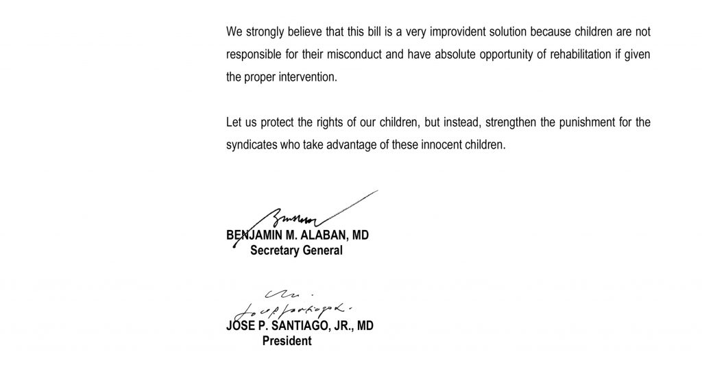 Position Paper Of The Philippine Medical Association On The Lowering Of The Age Of Criminal Liability Philippine Medical Association
